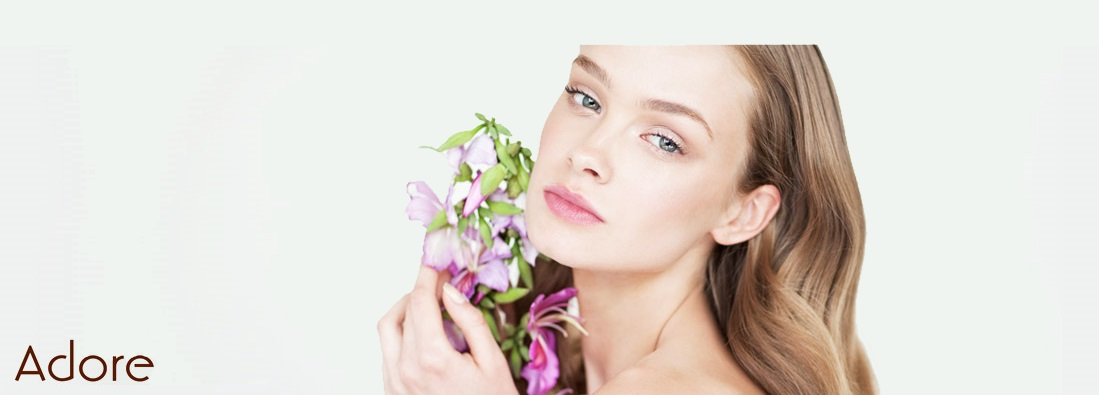 Adore cosmetics model with flowers