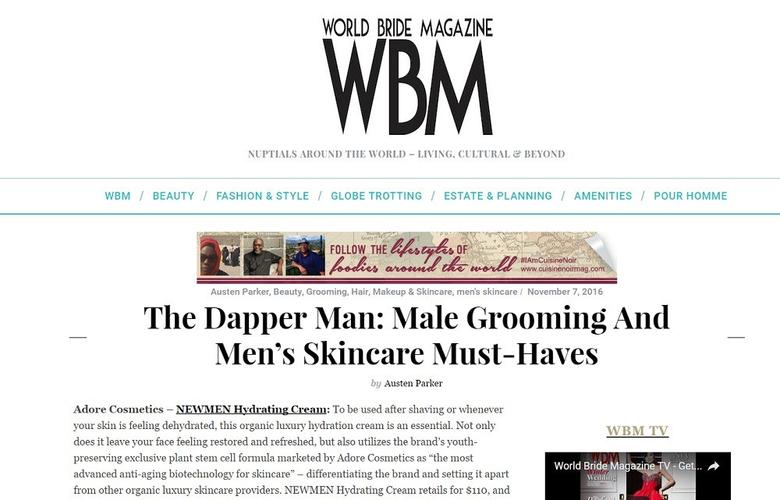 Adore Cosmetics Male Skincare in World Bride Magazine