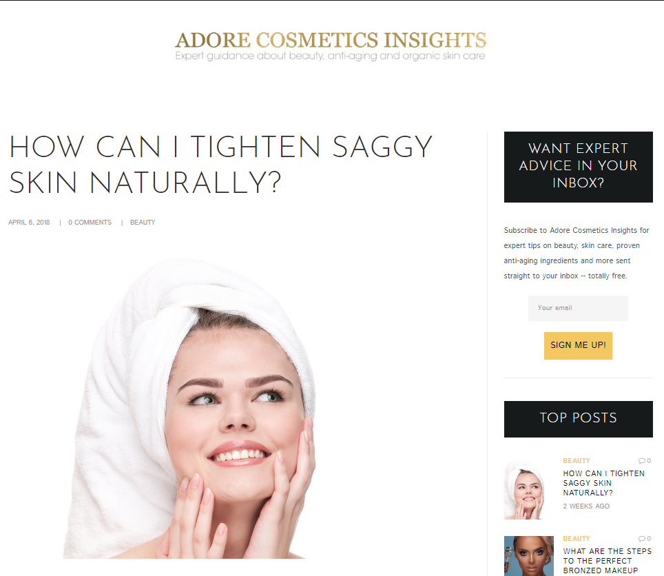 April 2018 Adore Cosmetics News Roundup Saggy Skin Remedies